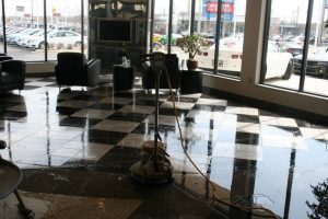 Cleaning Showroom Floor Buffer